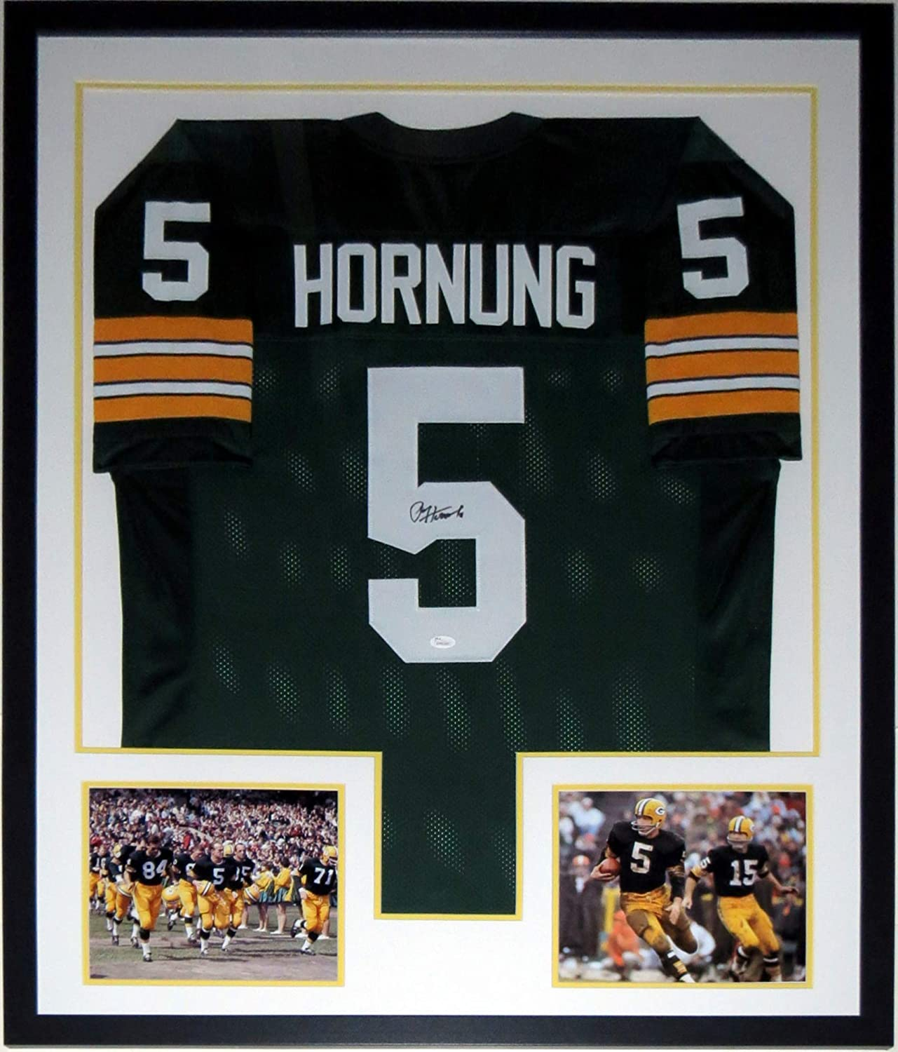 Paul Hornung Signed Green Bay Packers Jersey - JSA COA Authenticated - Professionally Framed & 2 8x10 Photo 34x42