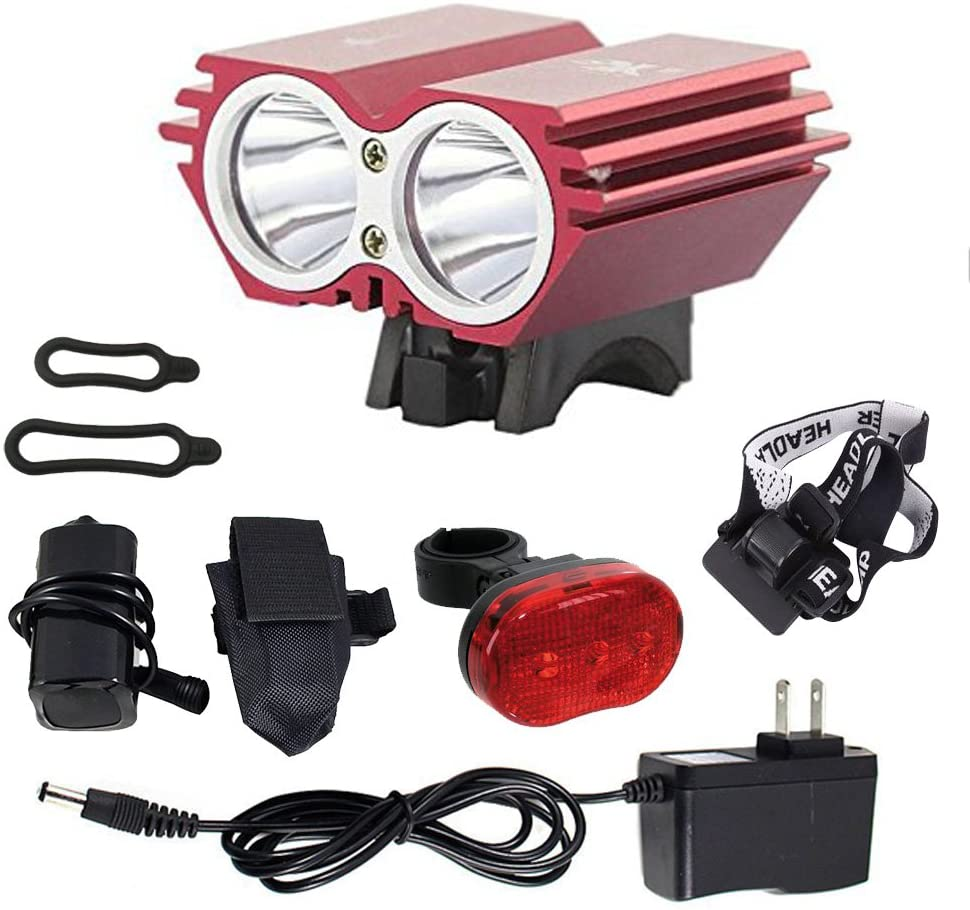FirstRank 4000 Lumens CREE XML-T6 LED 4 Modes Super Bright Rechargeable Waterproof Bike Bicycle Cycling Front Head Light Headlight with Taillight for Camping Cycling Hiking Outdoor Activities (Red)