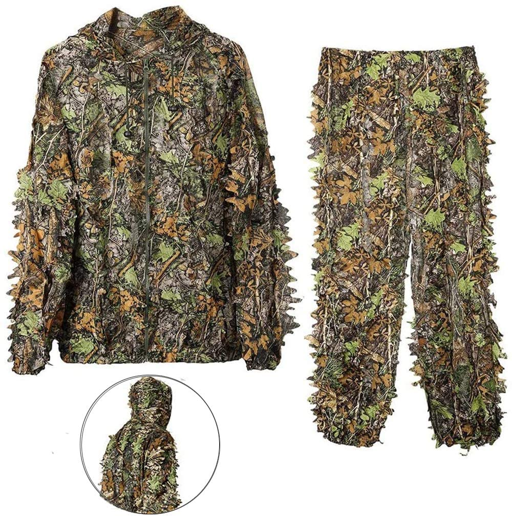 DoCred Ghillie Suit for Men, 3D Lightweight Hooded Camouflage Ghillie Breathable Hunting Suit
