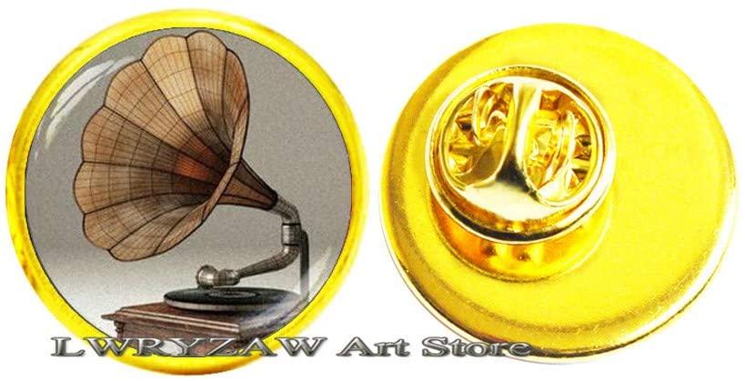 Record Player Pin, Music Brooch, Gramophone Player Pin, Phonograph Brooch, Musician Brooch Wedding Brooch,M194