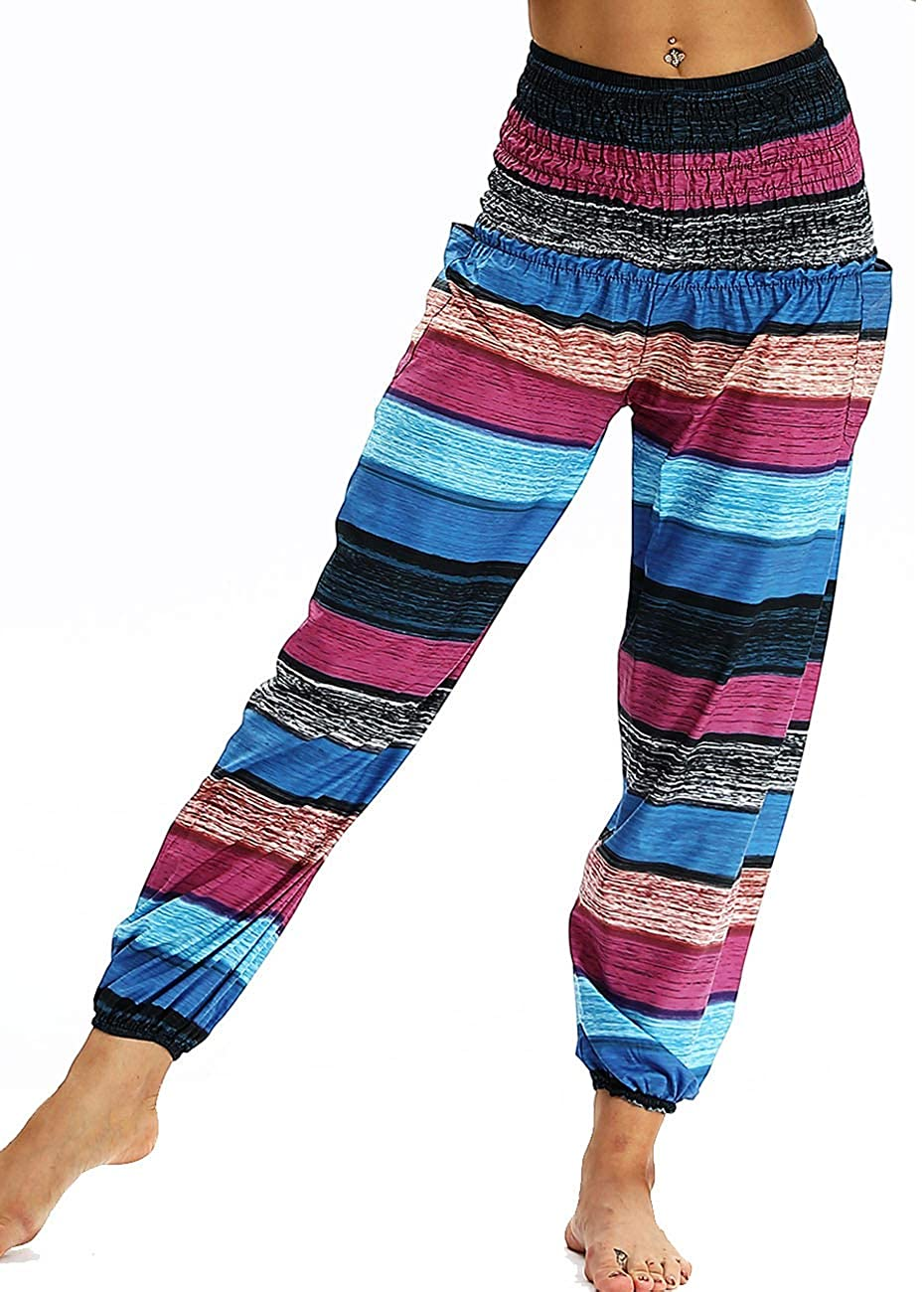 Leezeshaw Women Bohemian Stripes Print Smocked Waist Harem Hippie Yoga Pants Free Size with Pockets