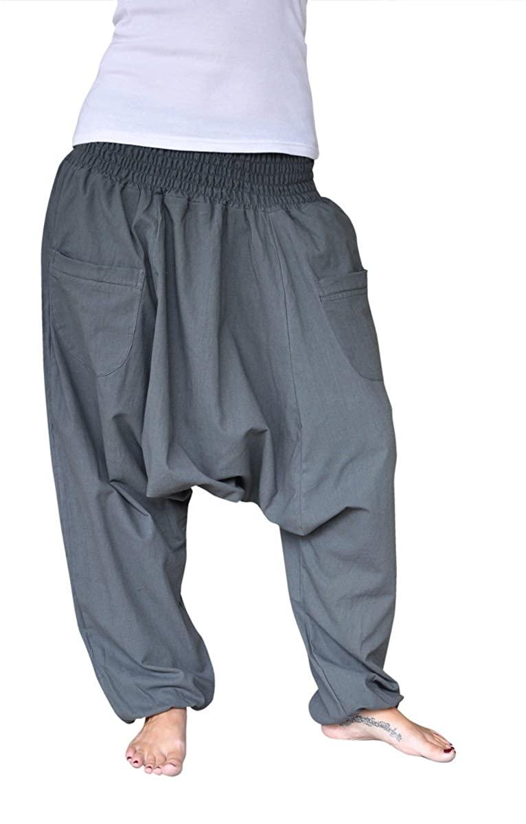 virblatt Harem Pants Women and Men Aladdin Pants with Zip Pockets (Size S-L) - unueberlegt Grey