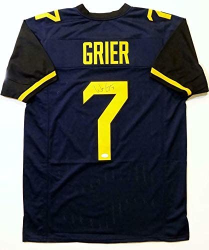 Signed Will Grier Jersey - Blue College Style W Auth *Black - JSA Certified - Autographed College Jerseys