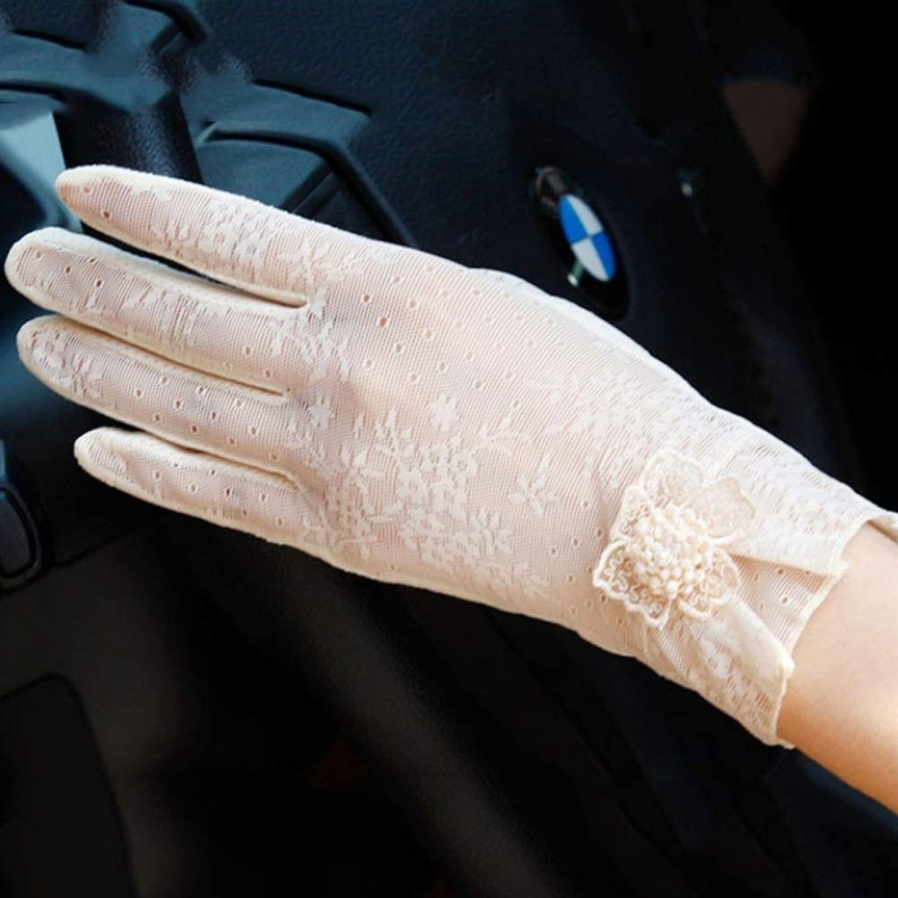 Uoyov New 2019 Chinese Fashion Sunscreen Gloves Ladies Short Lace Summer Driving Cycling Non-Slip Out Gloves Touch Screen Ice Silk Breathable Cool Thin Section