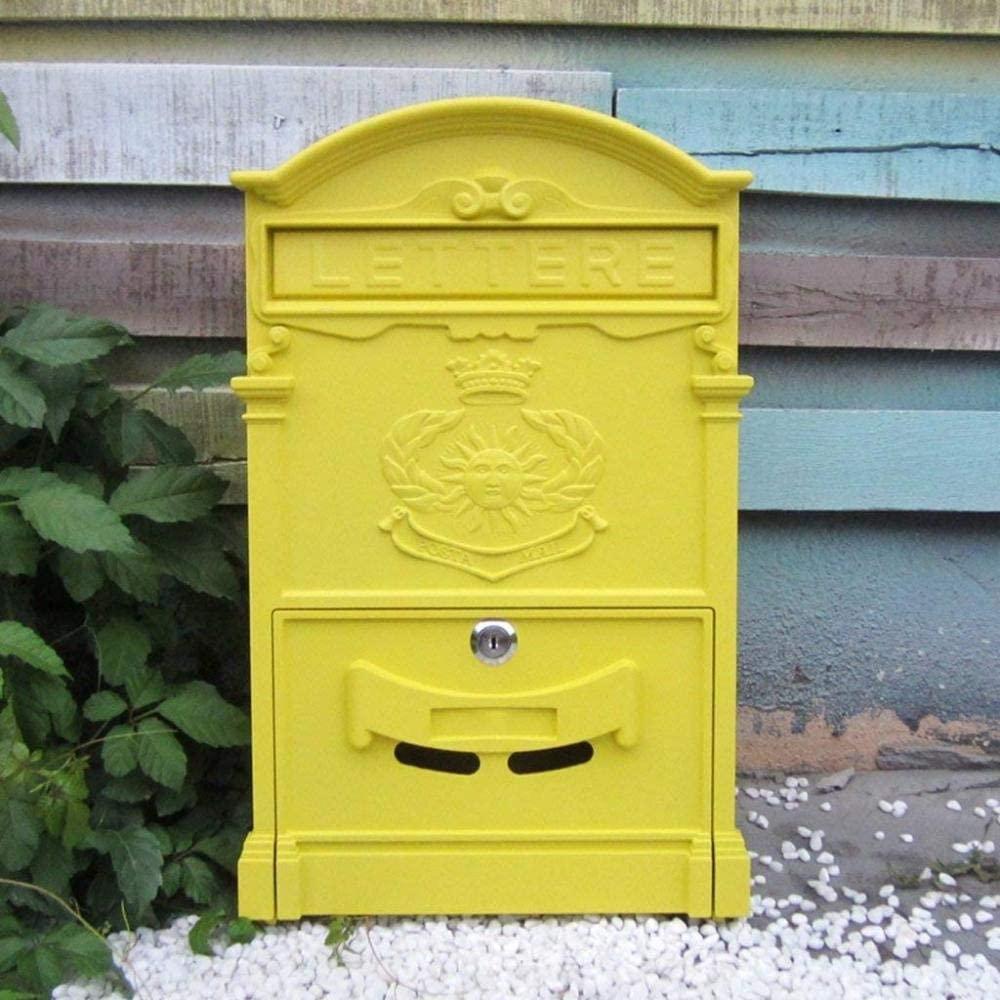 LXSXZGLY European Mailbox, Villa Mailbox, Outdoor Creative Wrought Iron with Lock Wall Retro Mailbox, Waterproof Large Newspaper Box, Mailbox,Yellow,A