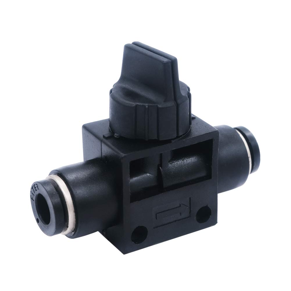 mxuteuk 6mm OD Tube Pneumatic Air Flow Control Valve,Push to Connect 3 Way Hand Valve Union Fitting HVFF-6