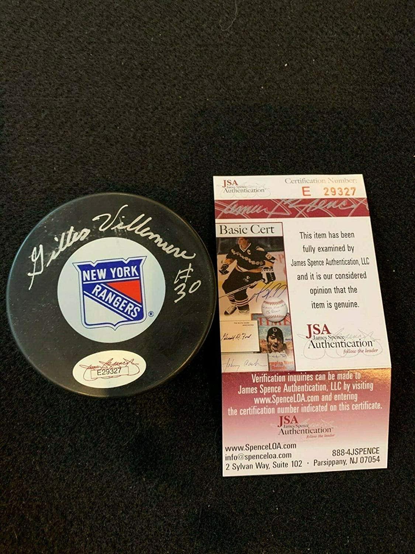 Giles Villimure New York Rangers Hockey Puck Auto Autograph Signature Cert. - JSA Certified - Autographed NHL Pucks