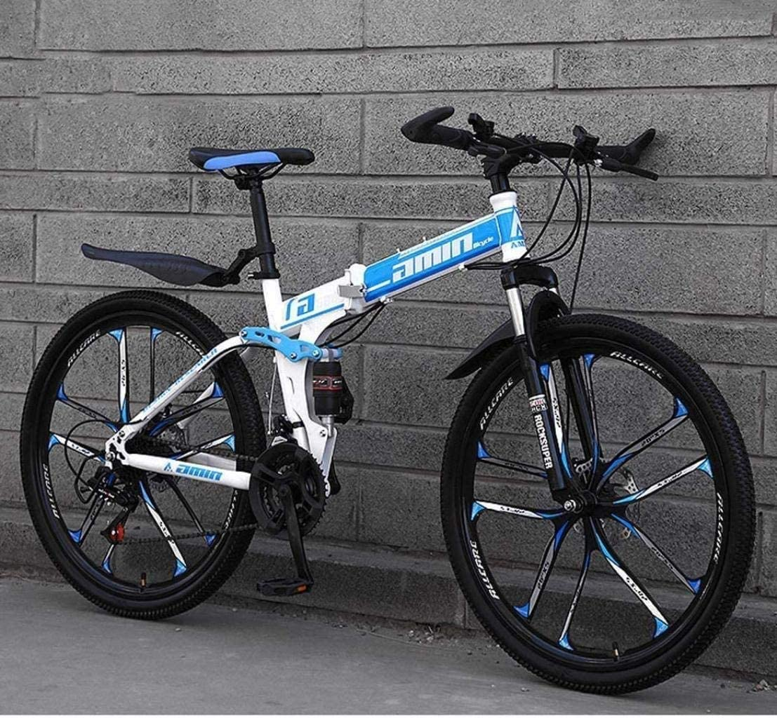 CSS Mountain Bike Folding Bikes, 26Inch 24-Speed Double Disc Brake Full Suspension Anti-Slip, Lightweight Frame, Suspension Fork 6-20,Blue