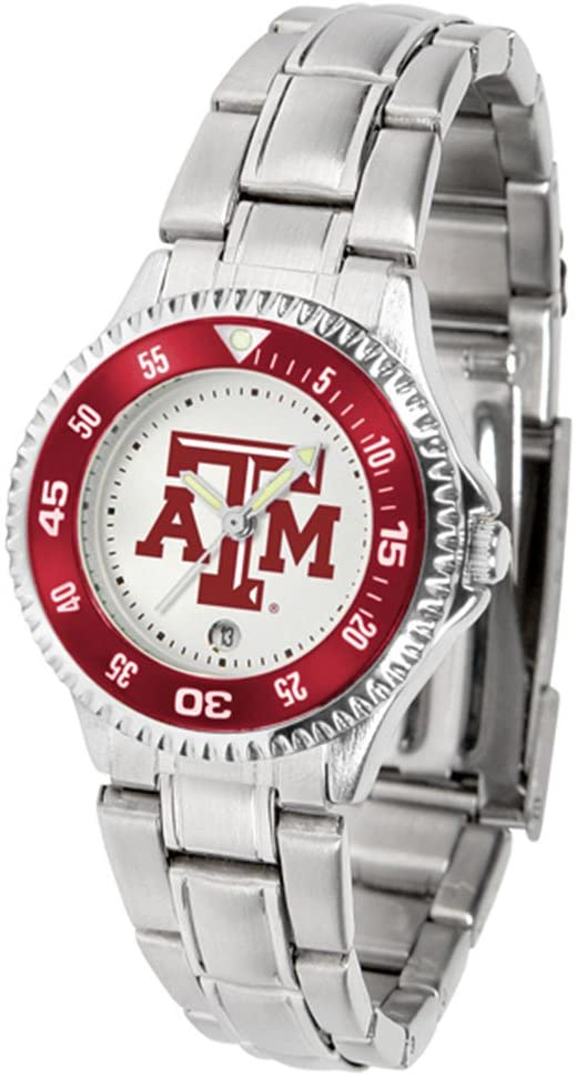 SunTime Texas A & M Aggies Competitor Ladies Watch with Steel Band