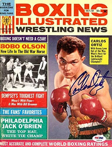 Carlos Ortiz Autographed Boxing Illustrated Magazine Cover #S48536 - PSA/DNA Certified - Autographed Boxing Magazines