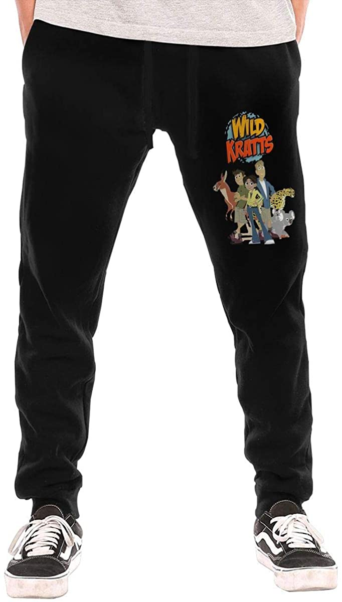 AP.Room Men's Wild Kratts Logo Sports Casual Pants Black