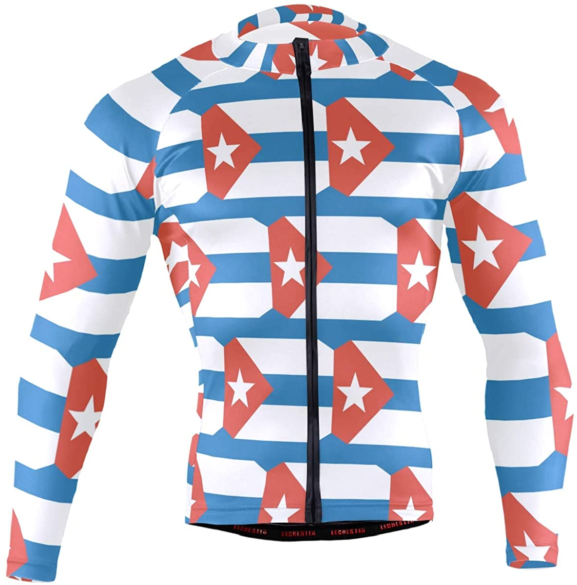Cuba Flag Men's Long Sleeve Cycling Jersey Bicycle Jacket Pockets Full Zipper Bike Biking Shirts
