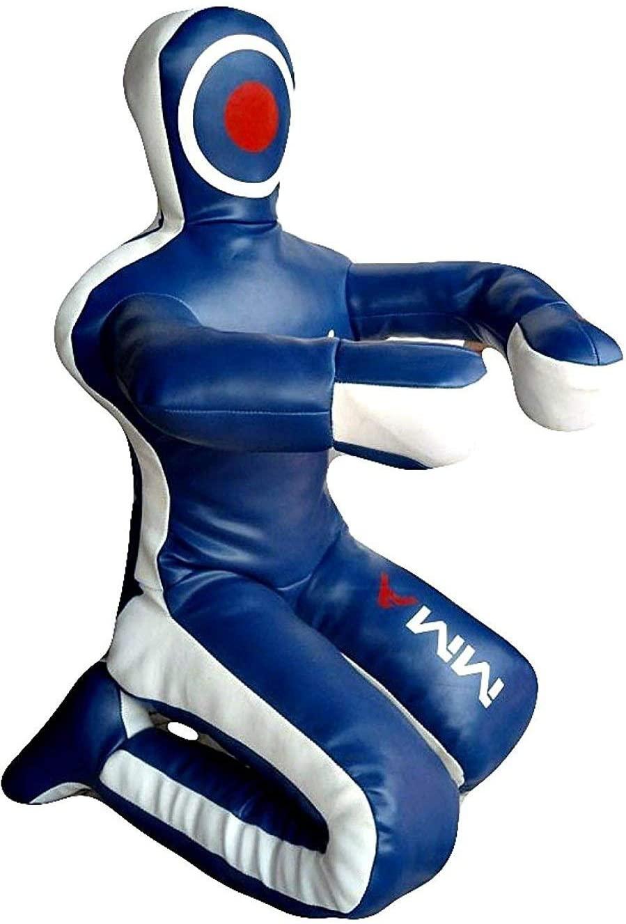 LEATHERAY MMA Martial Arts Brazilian Grappling Dummy Jiu Jitsu Punching Bag Sitting Position Blue-Unfilled Hands on Front