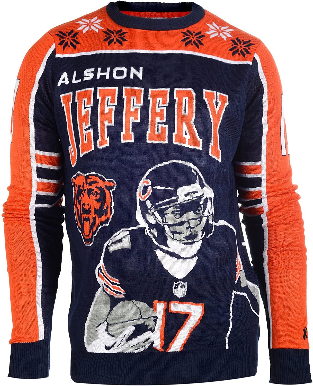 NFL Chicago Bears Player Portrait Ugly Sweater, Alshon Jeffery, XX-Large