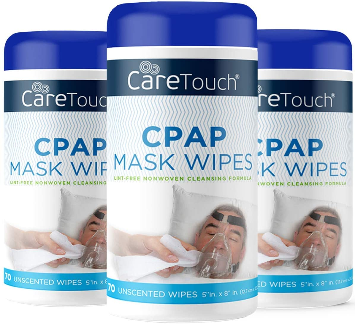 Care Touch CPAP Mask Cleaning Wipes - Unscented | 3 Packs of 70 Unscented Cleaning Wipes for CPAP Masks (210 Total) | Made in The USA