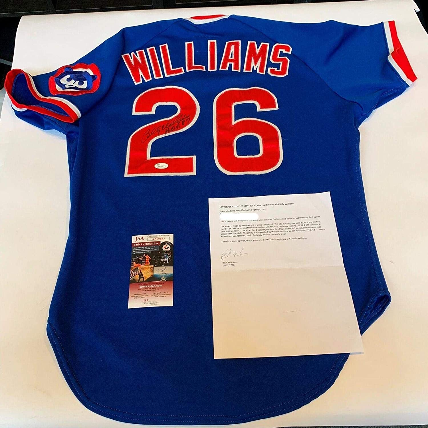Rare Billy Williams Signed Game Used 1987 Chicago Cubs Jersey & Miedema COA - JSA Certified - MLB Game Used Jerseys
