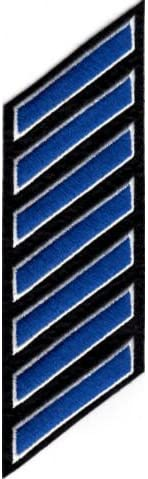 Uniform Service Hash Marks - Royal-White on Black Felt Backing - 7 Hashes