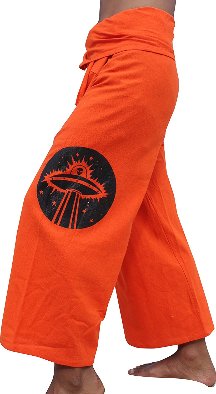 RaanPahMuang Warm Thai Cotton Wrap Fishermans Pants with Hand Drawn Alien Art