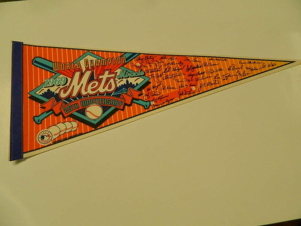 1969 MIRACLE METS FACSIMILE 25TH ANNIVERSARY 1994 NEW YORK METS BASEBALL PENNANT NICE CONDITION!
