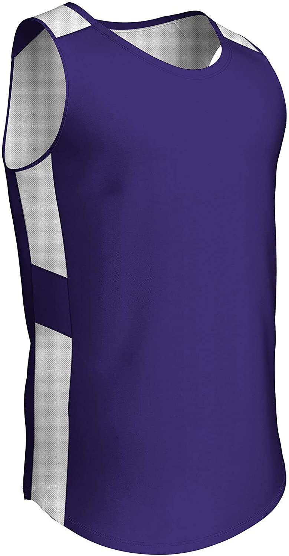 CHAMPRO Crossover Reversible Basketball Jersey, Women's Medium, Purple, White