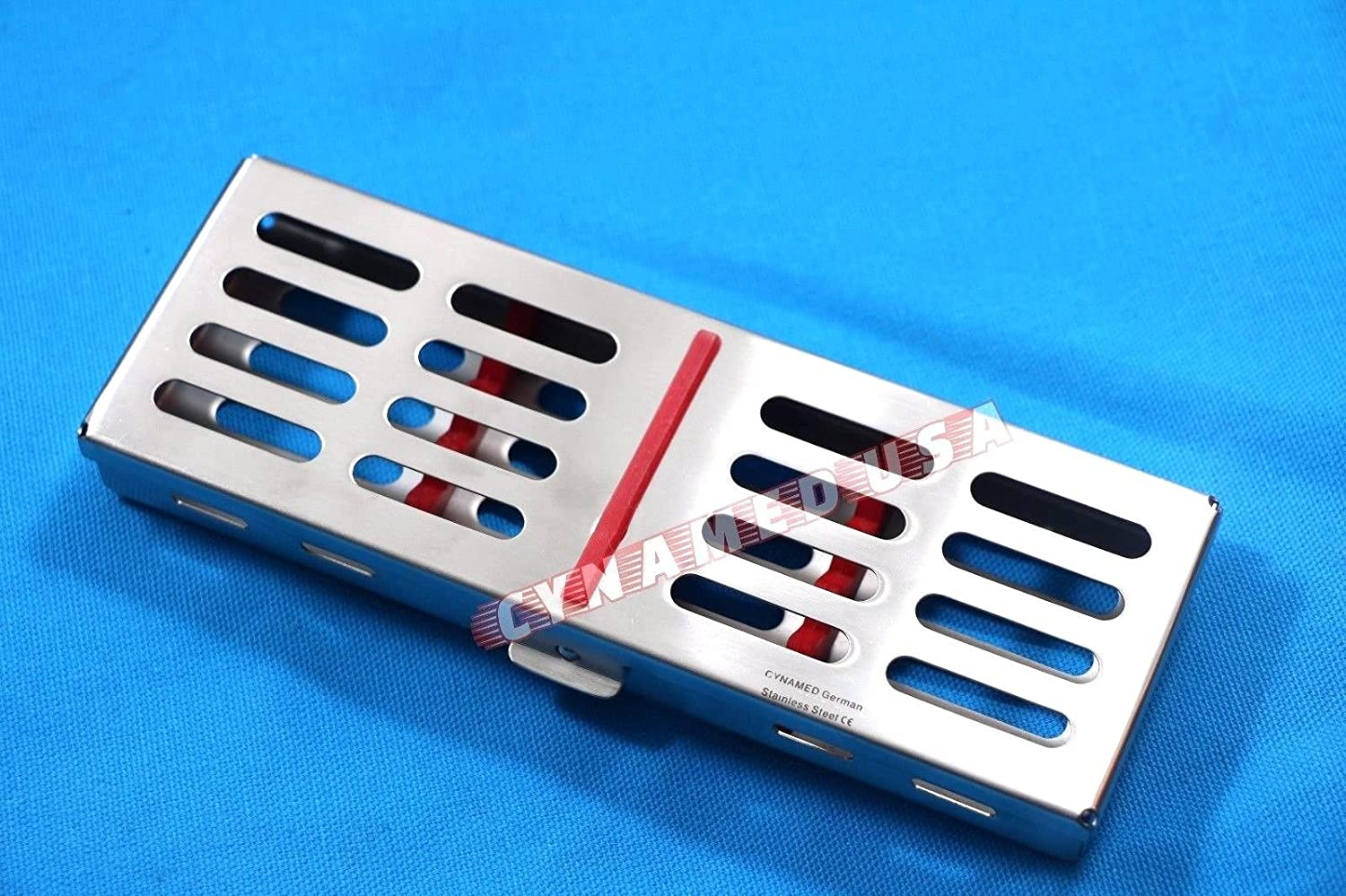 New German Stainless Dental Autoclave Sterilization Cassette Rack Box Tray for 5 Instrument RED