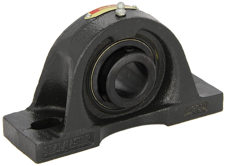 Sealmaster MP-48 Pillow Block Ball Bearing, Non-Expansion Type, Medium-Duty, Regreasable, Setscrew Locking Collar, Felt Seals, Cast Iron Housing, 3
