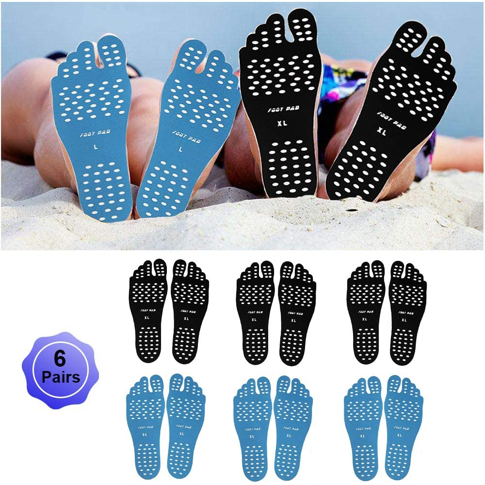 WLBON Beach Foot Pads Barefoot Adhesive Invisible Shoes Stick on Foot Pad Stickers Stick on Soles Anti-Slip Waterproof Silicone Unisex Footing Pad for Surfing Yoga Swimming 6 Pack