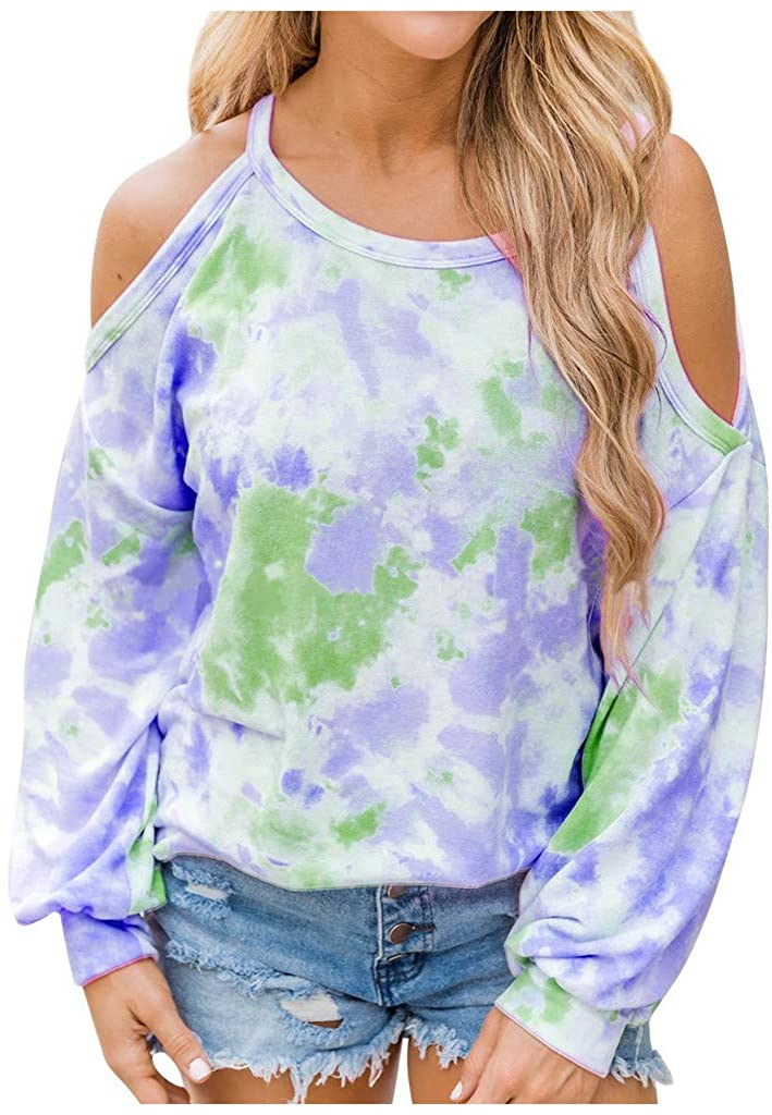 ESKNAS Womens Sweatshirt Ladies Cold Shoulder Tie-Dye Print Pullover Tops O Neck Long Sleeve T-Shirts Blouse