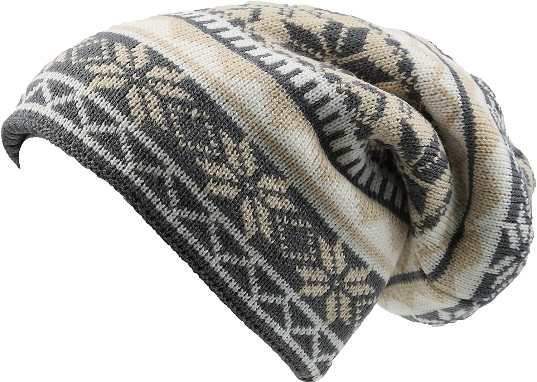 Sakkas Chale Long Tall Classic Winter Pattern Faux Fur Lined Unisex Beanie Hat
