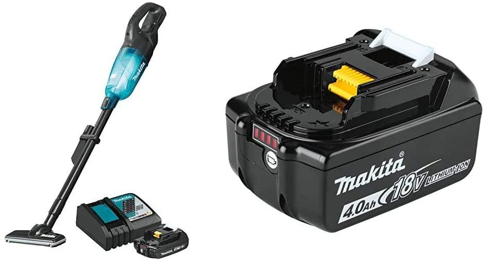 Makita XLC03R1BX4 18-Volt LXT Lithium-ion Compact Brushless Cordless Vacuum Kit, 2.0Ah with BL1840B 18-Volt 4.0Ah LXT Lithium-Ion Battery