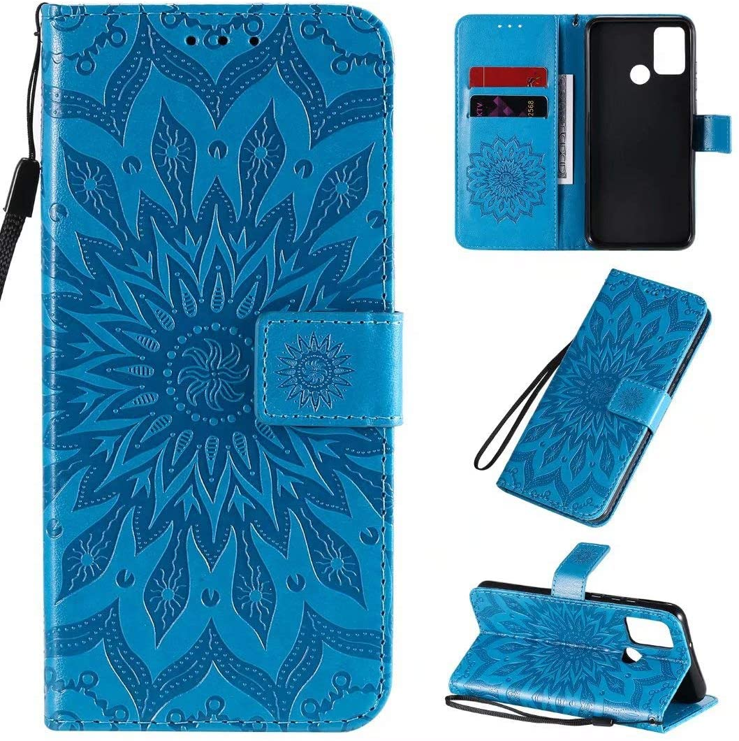 Luckyandery Honor 9A Holster Leather, Stand Case Folio Book Flip Cover Built-in Card Holder Fit for Huawei Honor 9A