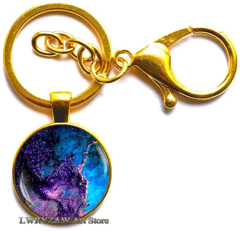 Blue Nebula Keychain, Galaxy Keychain, Universe Jewelry, Space Keychain, Blue Space Key Ring, Underwater Jewelry, Deep Blue Keychain,M40