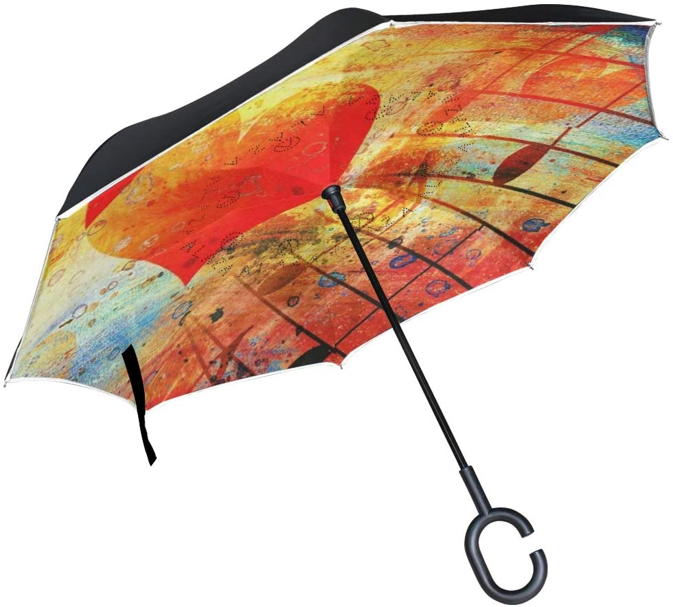 HONGSH Inverted Umbrella Reverse Double Layer Windproof UV Protection Upside Down Umbrella for Car Rain Outdoor Use