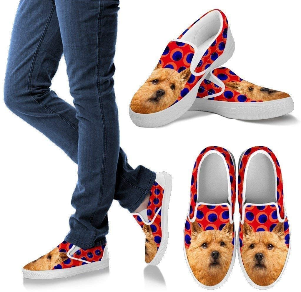 Paws With Attitude Norwich Terrier Print Slip Ons for Women-Express Shipping