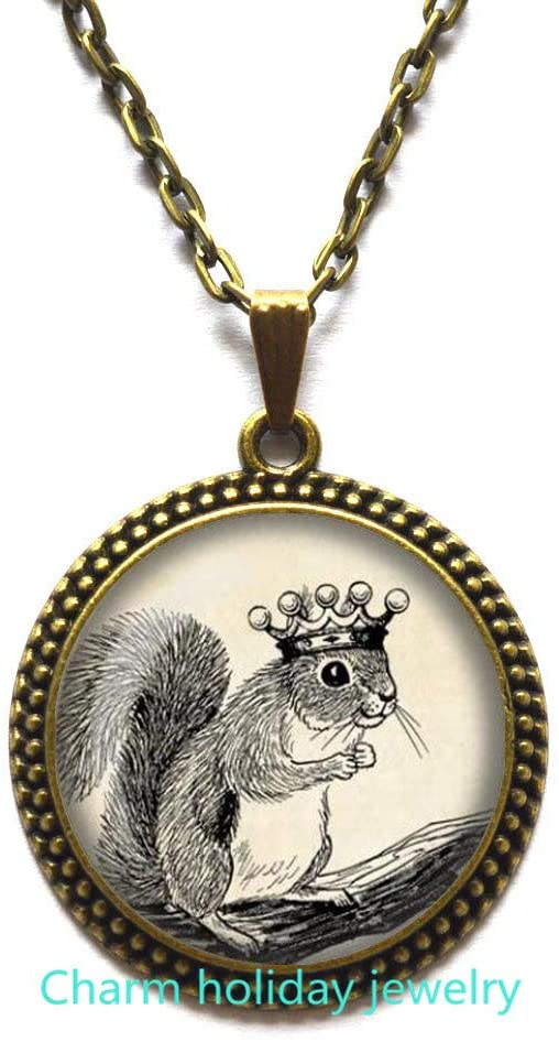 Squirrel Necklace Squirrel Pendant Wearable Art Jewelry Animal Necklace Royal Squirrel Jewelry, Bridesmaid Jewelry-#149