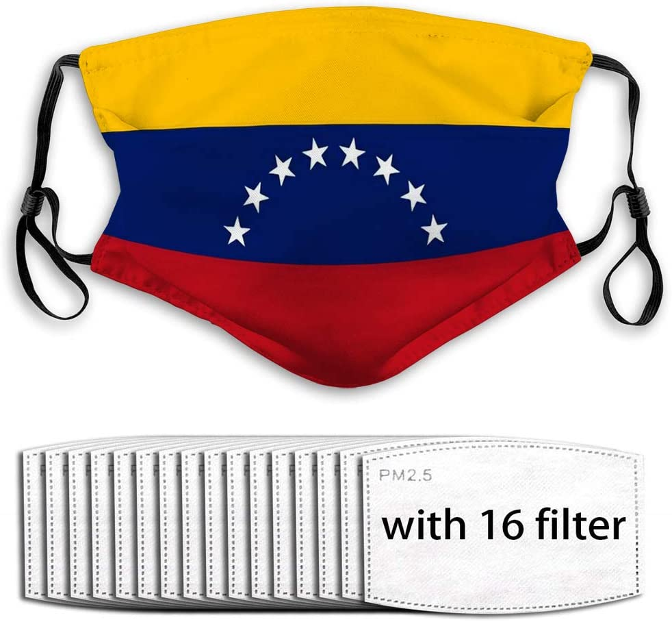YILINGER Reusable Mask Adjustable Scarf (16 Filter) Flag South American Country Venezuela