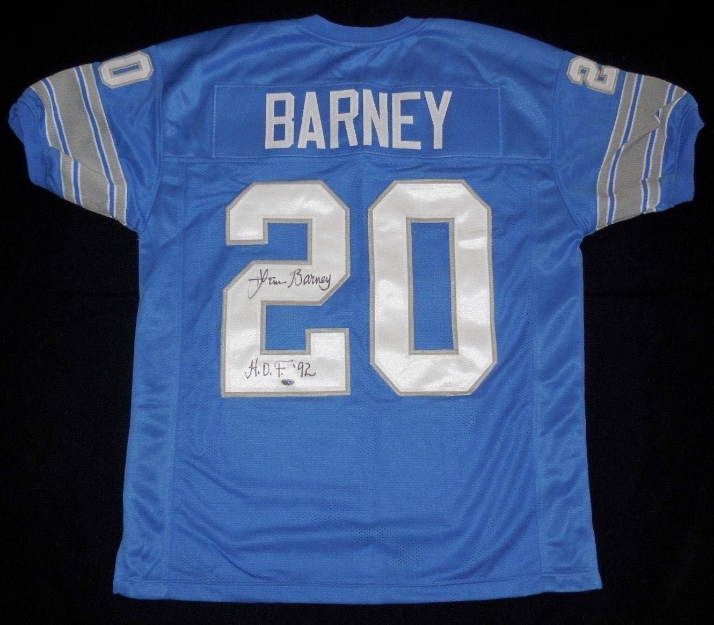 Lem Barney Autographed Jersey - Custom Hof) - Leaf Coa! - Autographed NFL Jerseys