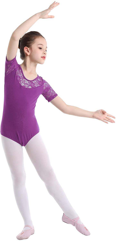 iEFiEL Girls Team Basic Leotard Short Sleeves Keyhole Back Gymnastic Ballet Dance Leotard Tops Dancewear Costumes