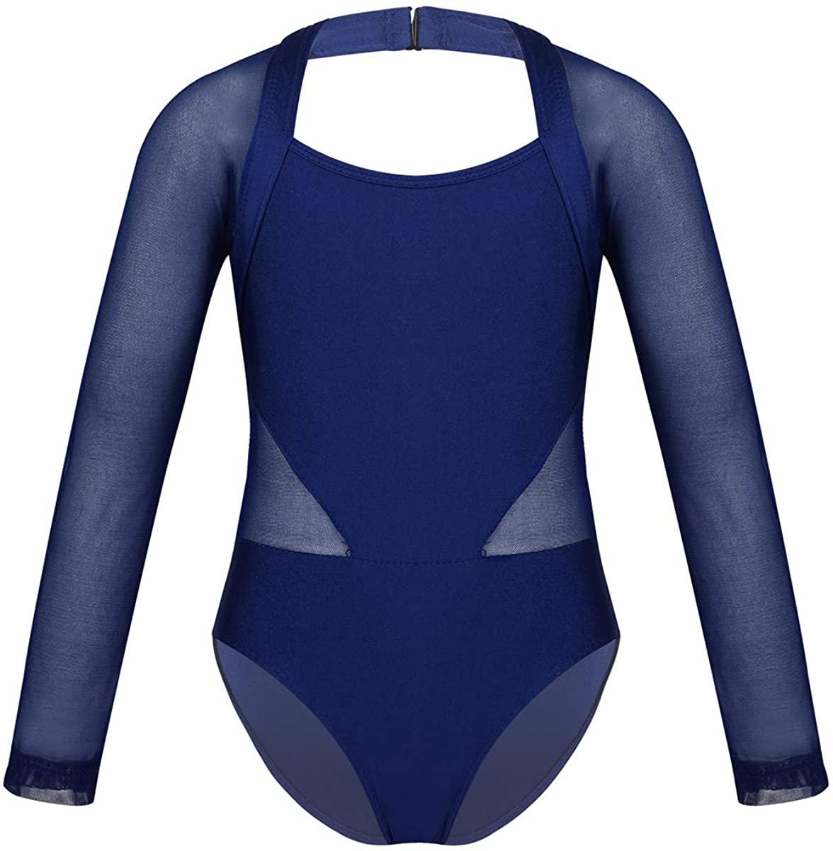 Agoky Kids Girls Ballet Dance Gymnastics Leotard Jumpsuit Cutout Back Mesh Splice Tank Sports Top Dance wear Costumes