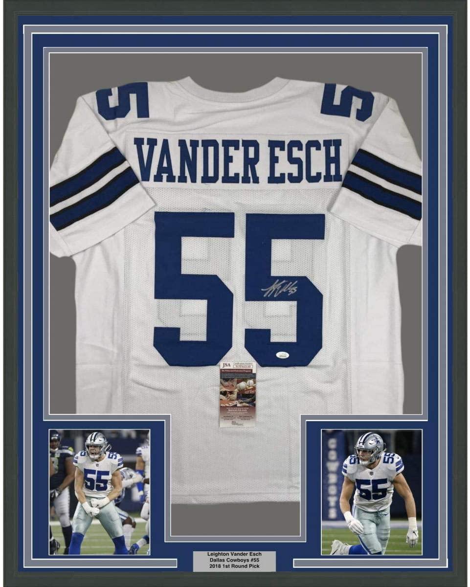 Framed Autographed/Signed Leighton Vander Esch 33x42 Dallas White Football Jersey JSA COA