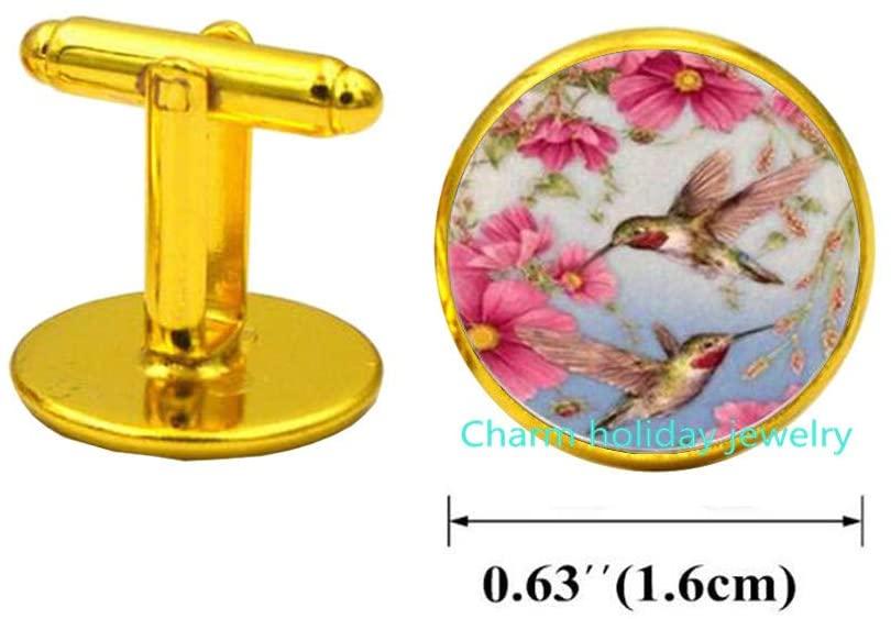 Charm holiday jewelry Hummingbird Cufflinks,Hummingbird Cufflinks Cuff Links Gift for her,Bird Cufflinks,Hummingbird Cufflinks for Woman-#233