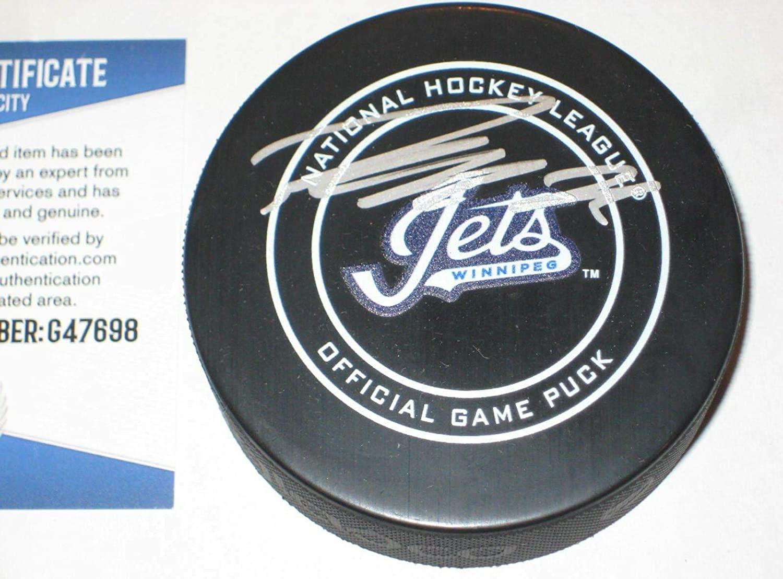 Autographed Patrik Laine Hockey Puck - Wordmark Official w Beckett COA - Beckett Authentication - Autographed NHL Pucks