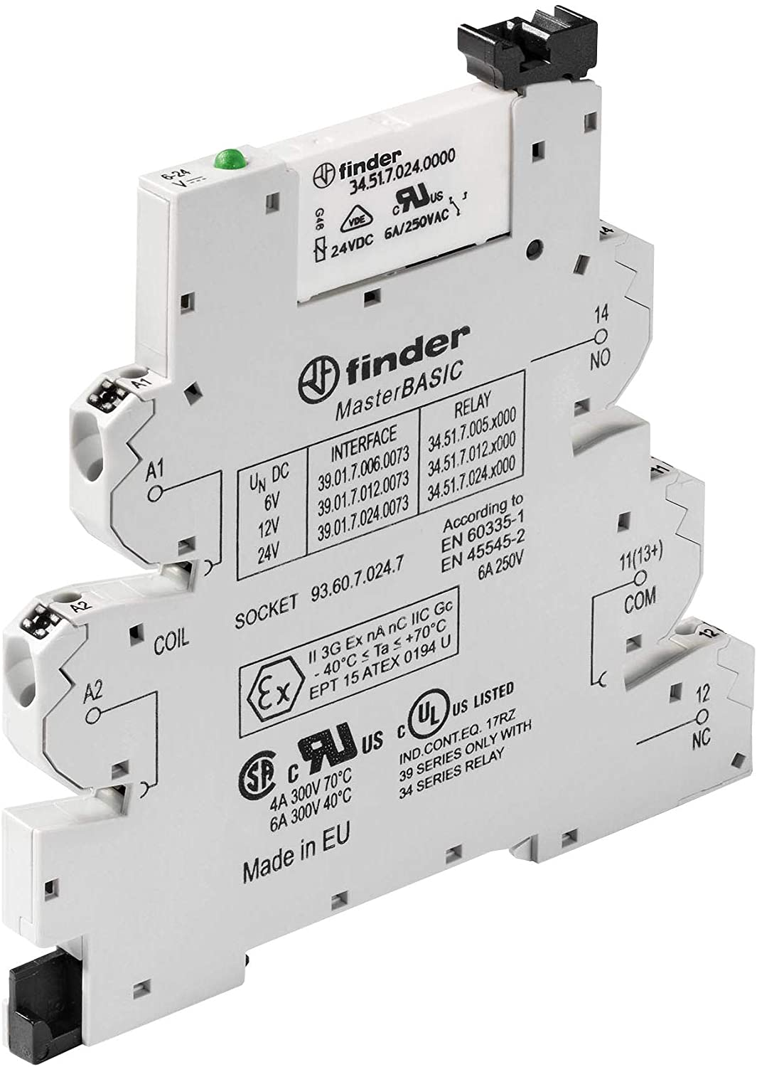 39.11.0.024.0073 - POWER RELAY, SPDT, 6A, 250VAC, DIN RAIL (Pack of 2) (39.11.0.024.0073)