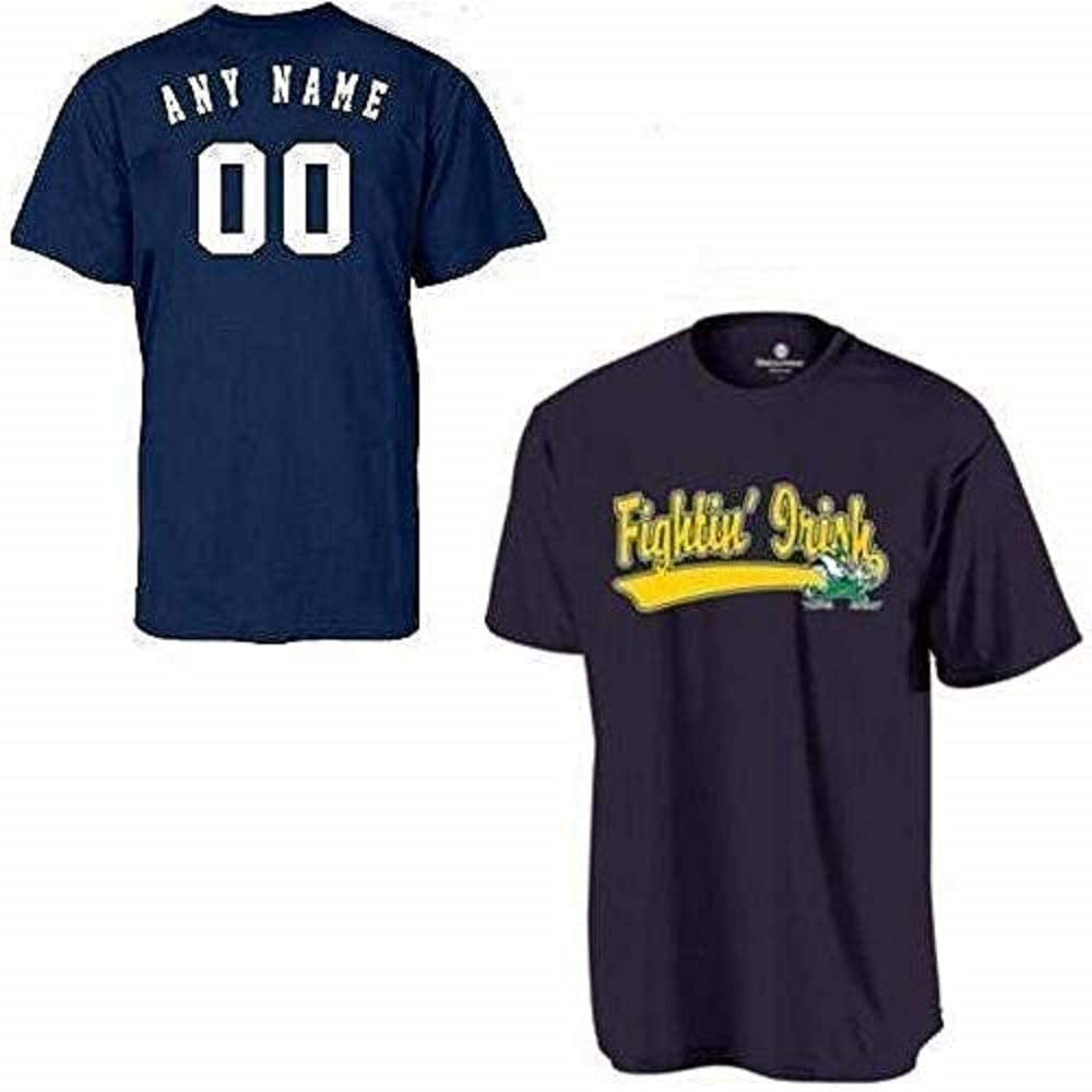 Youth Medium Notre Dame Fighting Irish Customized Crewneck Cool-Base Wicking Dry-Excel NCAA Officially Licensed Replica Jersey Shirt Navy