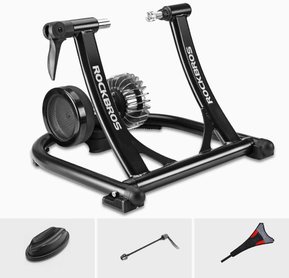 YQ WHJB Bike Trainer Stand,Magnetic Indoor Bicycle Trainer,Noise Reduction Foldable Home Training for 24-28 in & 700c Wheels Road Bikes A