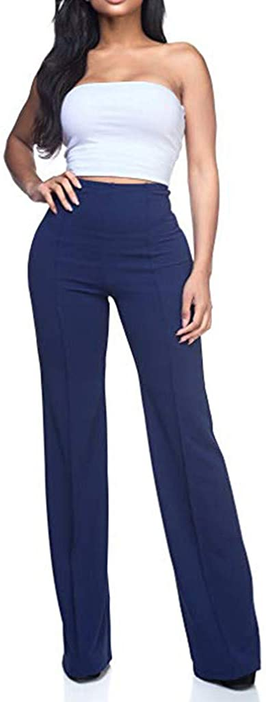 UOKNICE Business Style Pants,Women's High Waist Fashion Solid Loose Wide Long Trousers Flowing Palazzo Pants