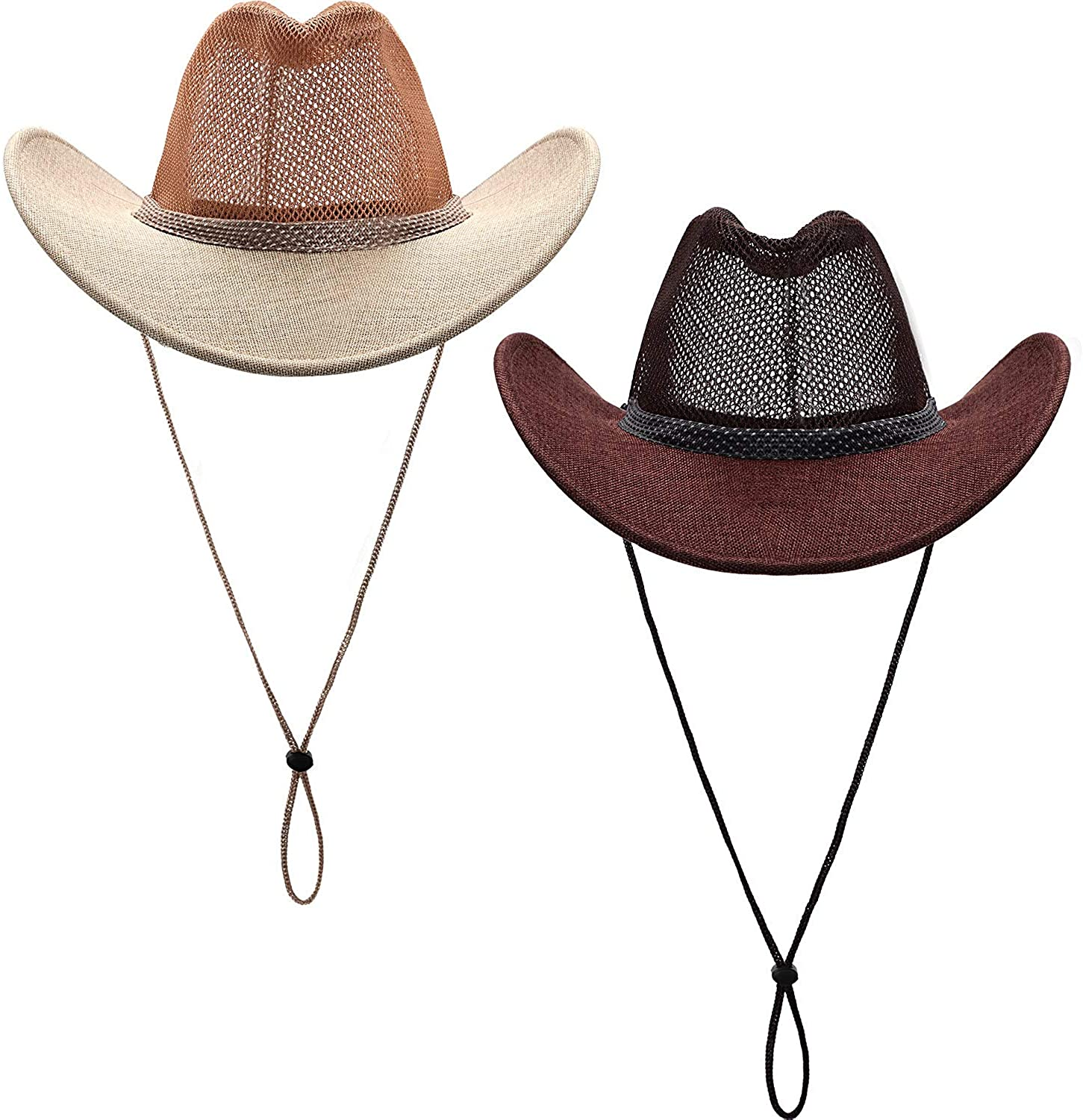 2 Pieces Mesh Safari Hats Twill-and-Mesh Sun Hats Mesh Covered Hats for Unisex