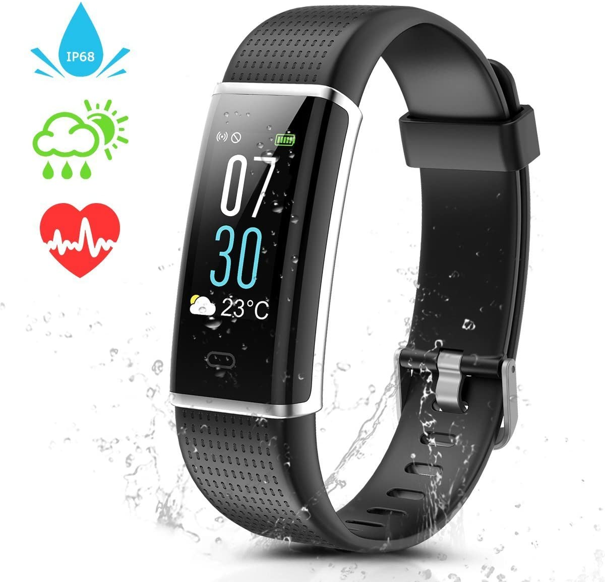 CAMTOA Fitness Tracker, ID130Plus Color HR Activity Wristband with Heart Rate Monitor/ IP67 0.96''OLED Sports Watch/Sleep Monitoring/GPS Track/Weather Forecast/Notification Reminder/Camera Control