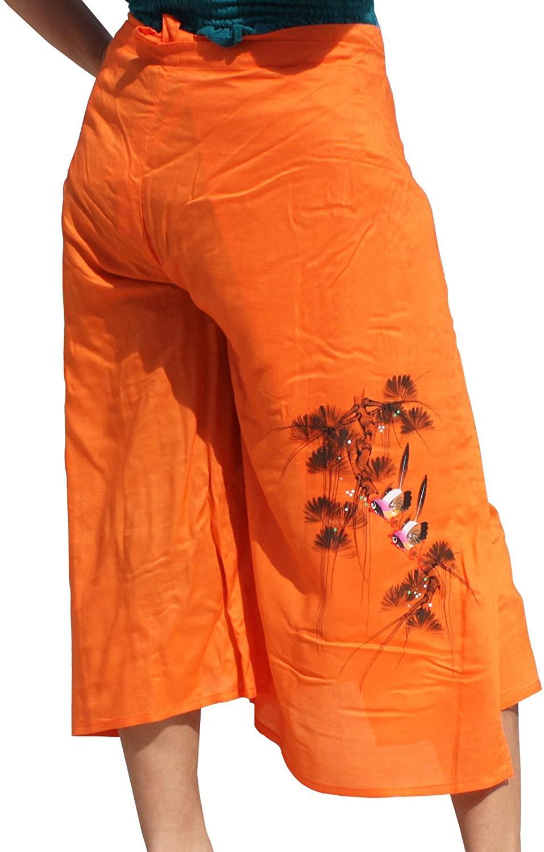 RaanPahMuang Drivein Wrap Viscose Capri Pants with Hand Painted Two Birds
