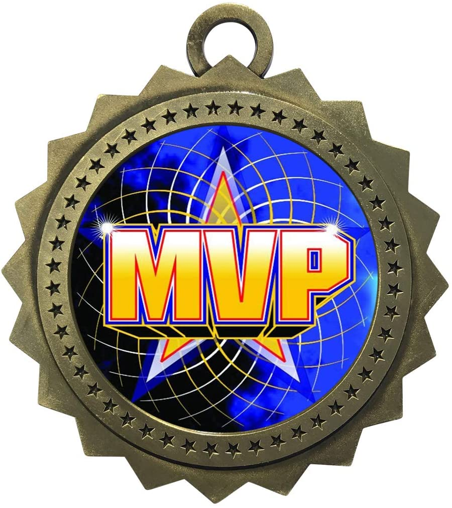 Express Medals Large 3 Inch Most Valuable Player MVP Gold Medal with Neck Ribbon Award Trophy Plaque Gift Prize